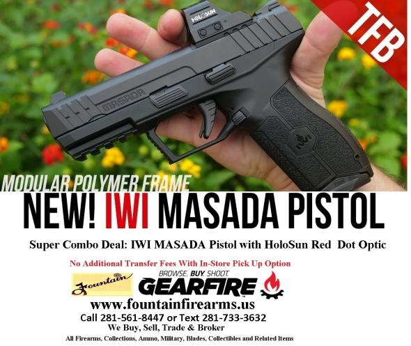 "Super Hot 2020!!! IWI Masada 9MM with HoloSun Red Dot Optic, 4.1"" Barrel, Polymer Frame, Black, 17+1 Round, 2 Mags  💲💲CASH $699.95💲💲"