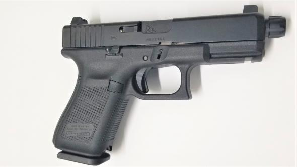 Glock, 19 Gen 5, 9MM, Threaded Barrel, Suppressor Night Sights, Extended  Magazine Release Release, 15Rd, Extended Ambidextrous Slide Stop Lever,