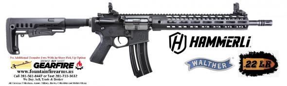 """Walther, Tac R1, Semi-automatic, AR, 22 LR, 16.1"""" Threaded Barrel, Black Finish, MFT Minimalist Stock, M-LOK Handguard, Front/Rear Flip Sights, 20+1 Round 💲💲Cash $348.95💲💲"""
