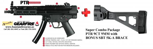 "SUPER HOT 2019!!! PTR 9CT (HK MP5/SP9K/NAVY CLONE) W UPGRADED SBT BRACE 9MM 8.86"" 💲💲CASH $1919.95💲💲"