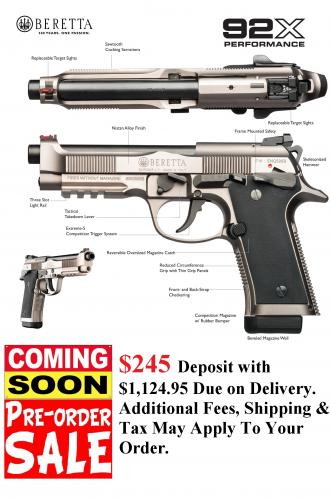 PO DEPOSIT ONLY: Deluxe Hot!!! Beretta 92x INOX Performance-Custom 9mm w Manual Safety
