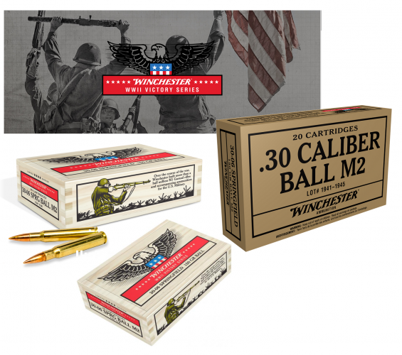 Winchester Ammo WWII Victory Series 30-06 Springfield 150 GR Flat Base 20 Rounds Per Box 💲💲CAsh $20.95💲💲 Specially packaged in collector's cartons and wood boxes. Part of the Service Grade Series