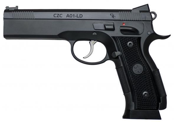 CZ-USA 91731 A01 9mm Luger Single 4.9' Barrel, 19+1 Round, Black Checkered Grip Blued Steel Slide