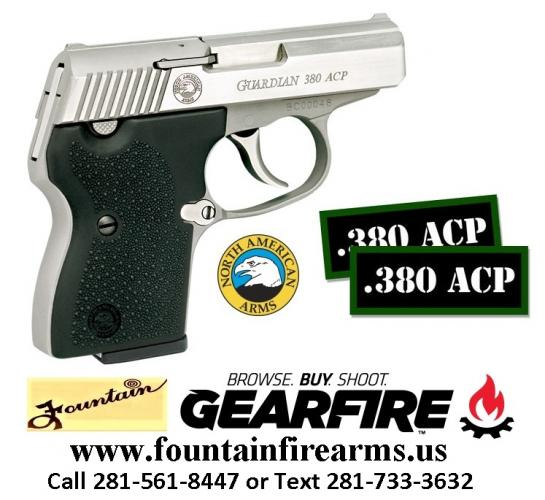 Pocket Rocket!!! North American Arms NAA Guardian 380ACP Stainless Rubber 6Rd 1 Mag Fixed Sights 💲💲Cash $429.95💲💲