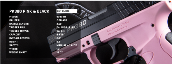 "Walther PK380, Semi-automatic, Double Action, Compact, 380ACP, 3.6"", Polymer, Blue/Pink, 8Rd, 1 Mag, Fixed Sights 5050311 💲💲Cash $329.95💲💲"