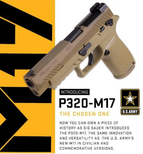 "US Army's Choice!!! Sig Sauer, P320 M17, Striker Fired, 9MM, 4.7"" Barrel, Polymer Frame, Coyote Finish, DP Pro Plate, 17Rd, 2 Mags, Siglite Night Sights 💲💲Cash $619.95💲💲"