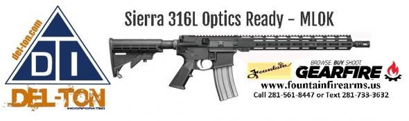 "Super Value!!! Del-Ton Sierra 316L Optics Ready AR15 223 Remington/5.56 NATO 30+1 Round Capacity 16"" Barrel Hard Coat Anodized Black Finish 💲💲Cash$549.95💲💲"