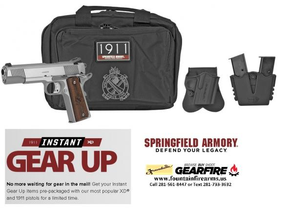 "GEAR UP Bonus!!! Springfield 1911 Loaded Pistol Gear UP Package 45 ACP 5"" Barrel 7 Round Stainless Steel Finish 💲💲Cash 899.95💲💲"