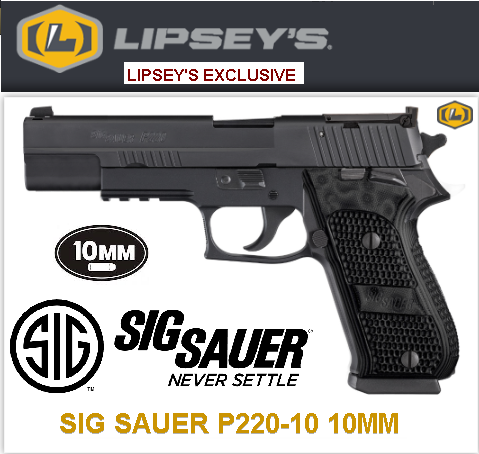 "LNIB Lipsey's Collectible!!! Sig Sauer P220 SAO Elite 10MM, 5"" Barrel, 8+1 Round, Black Finish - Very Limited Production 💲💲$1399.95💲💲"