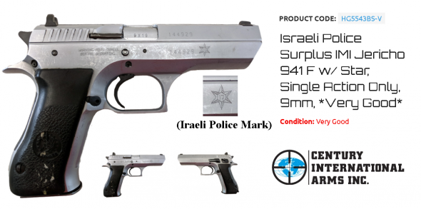 Israeli Police Surplus IMI Jericho 941 F w/ Star, Single Action Only, 9mm, *Very Good* 💲💲Cash $439.95💲💲