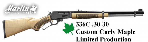 """Rare Uncatalogued Curly Maple!!!! Marlin 336C 30-30 Win, 20"""" Barrel, Polished Blue Finish, Curly Maple Stock, Semi-Buckhorn Folding Ramp with Hood Front Sight, 6Rd 💲💲Cash $849.99💲💲"""