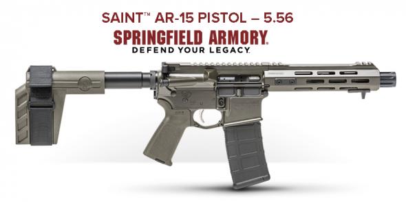 "Super Awesome!!! Springfield, Saint Pistol, 223 Rem/5.56NATO, 7.5"" Barrel, Aluminum Frame, OD Green Finish, 30Rd, SB Tactical Stabilizing Brace, MLOK Compatible Handguard 💲💲$849.95💲💲"