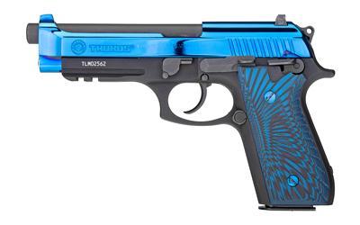 "Taurus, PT92, Full Size, 9MM, 5"" Barrel, Alloy Frame, Polished PVD Blue Slide, G10 Blue and Black Grips, 2 Magazines, 17Rd"