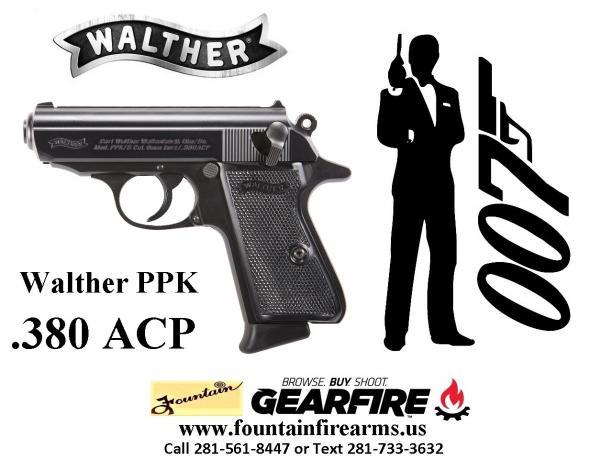Super Hot 2020!!! Walther Model PPK .380 ACP 3.3 Inch Barrel Black Frame Black Grips 6 Round 💲💲Cash $699.95💲💲