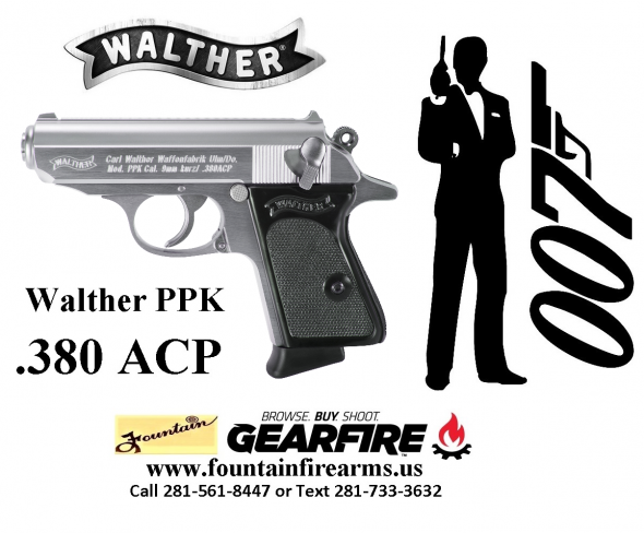 Super Hot 2020!!! Walther Model PPK .380 ACP 3.3 Inch Barrel Stainless Steel Frame Black Grips 6 Round 	💲💲Cash $699.95💲💲