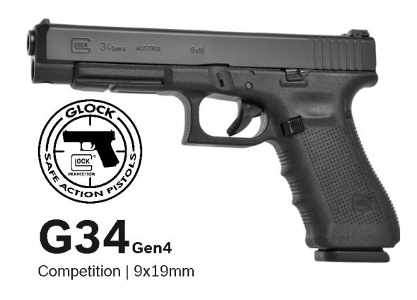 """Glock G34 Gen 4 Practical/Tactical Longslide Pistol, 9MM, 5.31"""" Barrel, Polymer Frame, Matte Finish, Adjustable Sights, 17Rd, 3 Magazines, Glock OEM Rail 💲💲Cash $589.95💲💲"""
