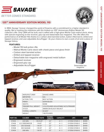 MEGA HOT!!!! 125TH ANNIVERSARY SAVAGE MODEL 110: LIMITED EDITION ENGRAVED 💲💲$1389.95💲💲💲