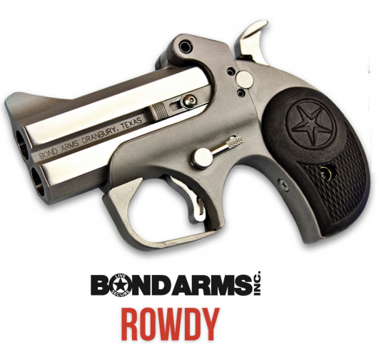 "Bond Arms, 410 Rowdy Polished Stainless Steel 410/45 Colt (LC) Derringer, 3"" Barrel, 2 Round, Black Rubber Grip Bead Blasted Frame 💲💲Cash $289.95💲💲"