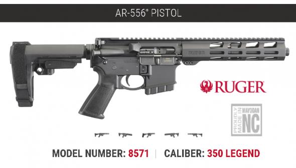 """Mega Hot 2020!!! Ruger AR-556 350 Legend Pistol, 9.5"""" Barrel, 5+1 Round, Black Finish💲💲Cash $734.95💲💲"""
