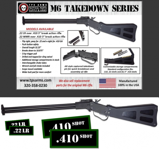 "TPS Arms M6 Takedown (Air Force Survival Unit) Over/Under, 22LR, 410Ga 3"" Chamber 💲💲Cash $499.95💲💲"