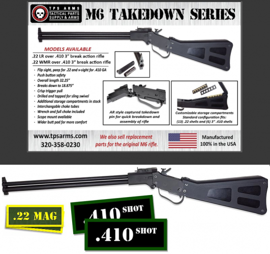 "TPS Arms M6 Takedown (Air Force Survival Unit) Over/Under, 22 Magnum, 410Ga 3"" Chamber 💲💲Cash $499.95💲💲"