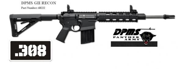 "DPMS G2 RECON, Semi-automatic, 308 Win, 16"" Mid-lengthBarrel, Black Finish, Magpul MOE Stock, Flip Up Front and Rear Sights, 19Rd, 1 Magazine, Gen 2, Sling 60222 💲💲Cash $1,339.95💲💲"