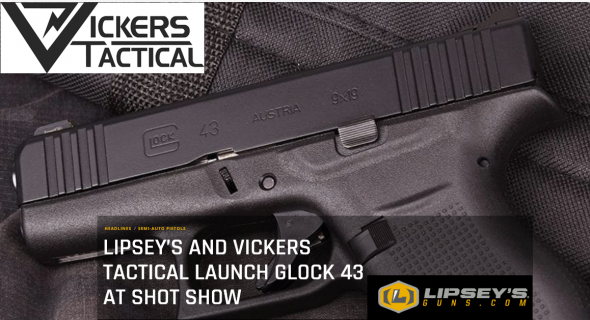 "Glock G43 Vickers 9MM -Limited Production Vipsey's, 3.39"" Barrel, 6+1 Round, Gas Nitride Finish 💲💲Cash $514.95💲💲"