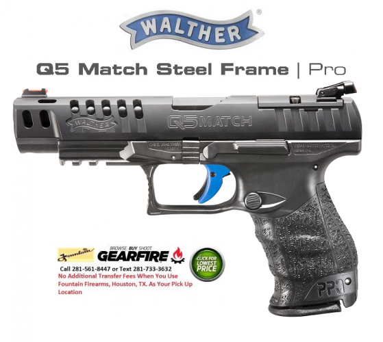 WALTHER 2016 PPQ Q5 Match 9mm 5 Inch Barrel with Tenifer Coating Adjustable Rear Target Sights Fiber Optic Front Sights Black 15 Roung 💲💲Cash $794.95💲💲