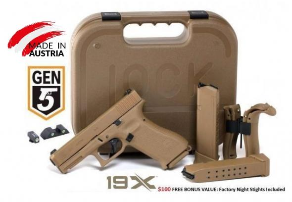 "Super Hot 2019!!! Glock, 19X, Safe Action, Compact Size Pistol, 9MM, 4.01"" Marksman Barrel, Coyote Polymer Frame, Coyote Slide, Coyote Magazines, Coyote Box, 2-19Rd 💲💲Cash $619.95💲💲 - Made In Austria"