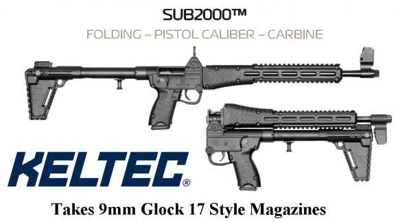 "Always Hot!!! KEL-TEC SUB 2000 2K GEN2, 9MM, 16.1"" Barrel, Blued Finish, Black Grip, Adjustable Sights - Glock OEM 17 Magazine, Quad Rail 💲💲Cash $419.95💲💲"