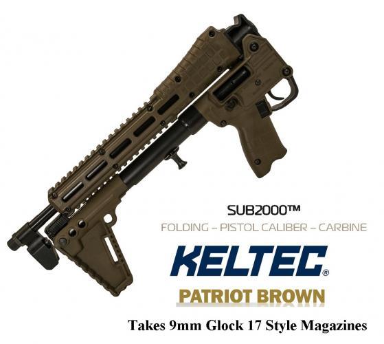 "KEL SUB-2000 Gen2 Glock 17 Mag 9mm 16.1"" Barrel Patriot Brown Finish Black Grip 10 Round 💲💲Cash $439.95💲💲"