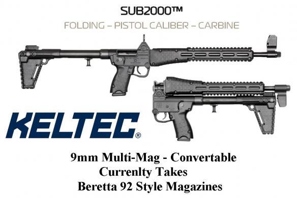 "Multi-Mag Convertible!!! KEL-TEC SUB 2000 2K GEN2 Current Configuration  Beretta 92 Magazine 16.1"" Blue Black 1 Mag 17Rd Beretta 92 Magazine Adjustable Sight 💲💲Cash $419.95💲💲"