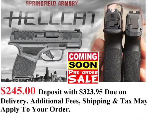 "PO DEPOSIT ONLY: MEGA HOT 2020 Springfield Hellcat 9MM Super Compact, 3"" BBL & 13 RDS, Tritium Front Sight - Standard Model HC9319B"