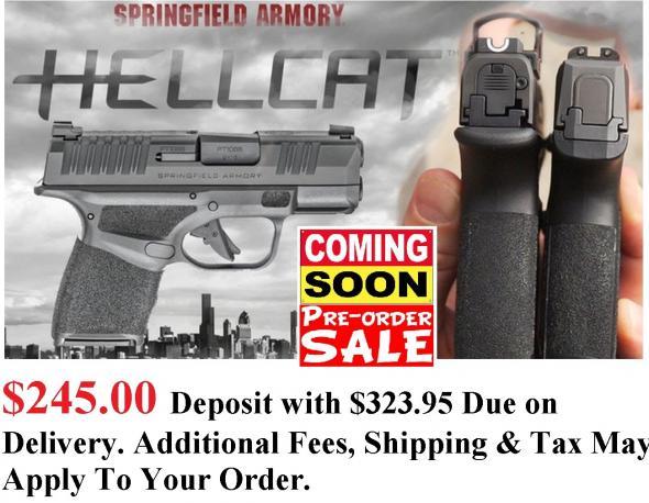"PO DEPOSIT ONLY: MEGA HOT 2020 Springfield Hellcat 9MM Super Compact, 3"" BBL & 13 RDS, Tritium Front Sight - Standard Model HC9319B"