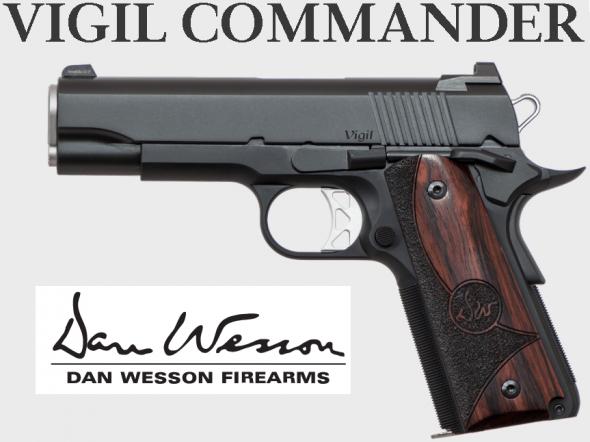 "Dan Wesson, Vigil, Commander Size 1911, 45 ACP, 4.25"" Barrel, Aluminum Frame, Black Finish, Wood Grips, 8Rd, Night Sights 💲💲Cash $1169.95💲💲"