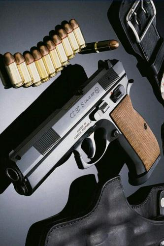 """Collectable Uncatalogued !!! CZ 97B """"BIG BORE"""" 45 ACP, 4.5"""" Cold Hammer Forged Barrel, Steel Frame, Black Finish, Wood Grips, 2-10Rd Magazine 💲💲Cash $679.95💲💲"""