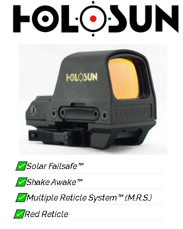 Awesome Value!!! Holosun Technologies, Open Reflex, 2MOA Dot or 2MOA Dot with 65MOA Circle, Solar with Internal Battery, Quick Release Mount, AR Riser, Protective Hood, Black Finish 💲💲Cash $249.95💲💲