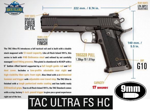 "17 Rounds!!! Rock Island Armory Tac Ultra FSHC 1911 9mm 5"" Barrel  💲💲Cash $779.95💲💲"