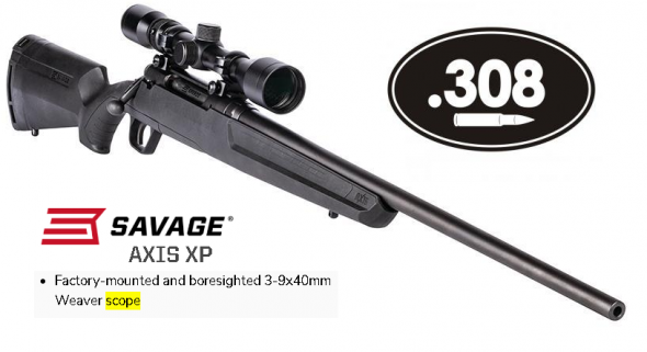 """Savage, AXIS XP, Bolt Action, 308 Win, 22"""" Barrel, 4+1 Round, Black Synthetic Stock 💲💲Cash $359.95💲💲"""