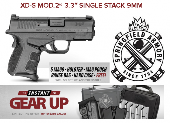 """Springfield, XDS, Mod.2 with Grip Zone, Striker Fired, Compact Frame, 9MM, 3.3"""" Barrel, Polymer Frame, Black Finish, 2 Magazines, 1-7Rd, 1-9Rd, Fiber Optic Front Sight 💲💲Cash $459.95💲💲"""