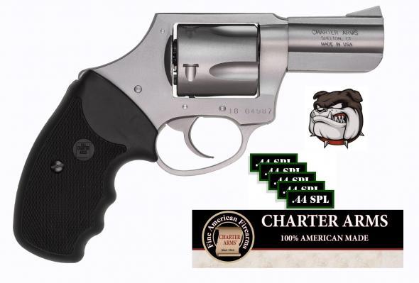 "Bulldog!!! Charter Arms Bulldog DAO 44 Special 2.5"" 5rd Blk Rubber Grip Stainless"