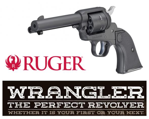 "Mega Hot!!! Ruger 2002 Wrangler 22 LR 4.62"" 6 Round Black Checkered Grip Black"