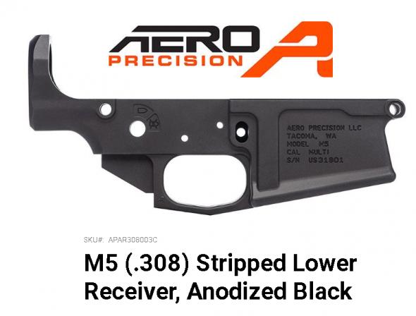 Aero Precision APAR308003C M5 308 Stripped Lower Receiver AR-10 AR Platform 308 Winchester/7.62 NATO Black Hardcoat Anodized 💲💲Cash $139.95💲💲