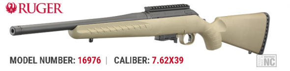 """Awesome Price!!! Ruger, American Rifle Ranch, Bolt-Action Rifle, 762X39, 16.1"""" Barrel, Matte Black Finish, Alloy Steel, Flat Dark Earth Composite Stock, 5Rd 💲💲$439.95💲💲"""