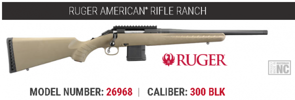 """Awesome!!! Ruger, American Ranch Rifle, Bolt-Action, 300 Blackout, 16.1"""" Threaded Barrel, Matte Black Finish, Flat Dark Earth Composite Stock, 10Rd AR Style Magazine 💲💲Cash $439.95💲💲"""