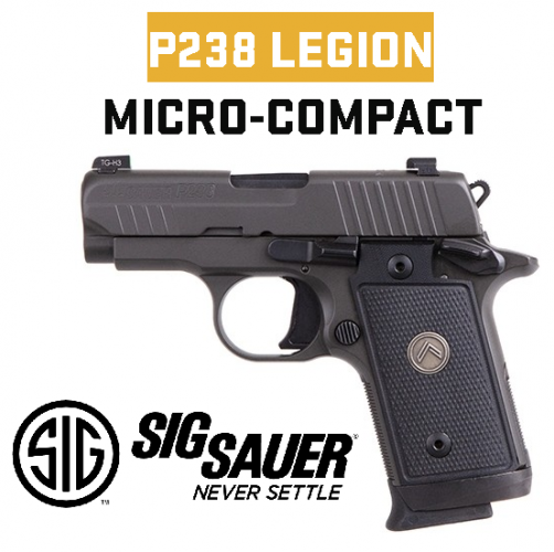 """Super Priced!!! Sig Sauer, P238, Legion, Semi-Automatic, Single Action Only, Compact, 380ACP, 2.7"""" Barrel, Alloy Frame, Black G10 Grips, X-Ray 3 Night Sights, Gray Finish, 7 Round, 3 Magazines, Ambidextrous Safety 💲💲Cash $449.95💲💲"""
