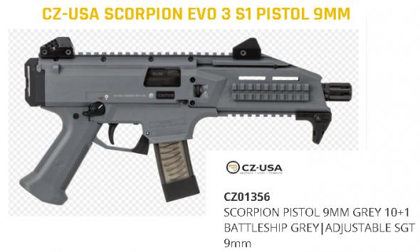 "Hard to Find!!! CZ-USA Scorpion EVO 3 S1 Pistol, Semi-Automatic, 9mm, 7.72"" Barrel, Battleship Grey, 10+1 Rounds  💲💲Cash $889.95💲💲"
