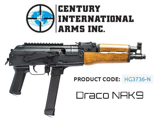 "9mm AK Fun!!! Century Arms, Draco NAK9, Semi-Automatic Pistol, 9mm, 11.14"" Barrel, Steel, Black, 33 Round, 1 KCI Glock Style Magazine 💲💲Cash $479.95💲💲"