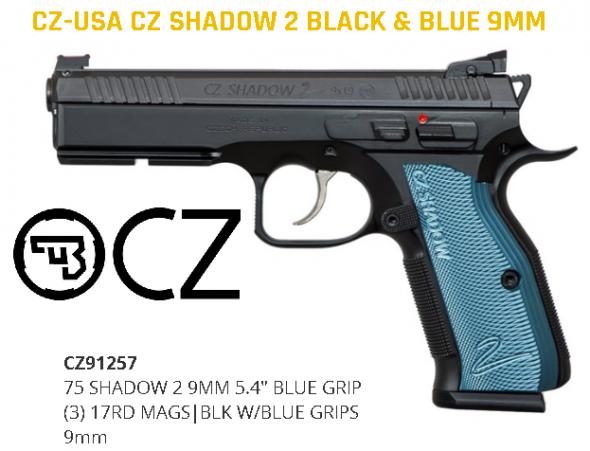 "Harder to Find!!! CZ SP-01 Shadow 2 Blue,  9mm Luger 4.8"" Barrel, 17+1 Round, Blue Aluminum Grip Black Nitride 💲💲Cash 1199.95💲💲"