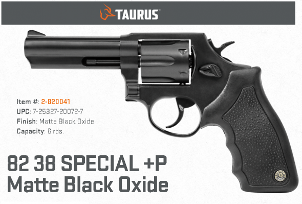 """Taurus 82, Duty Size, Medium Frame, 38 Special, 4"""" Barrel, Steel Frame, Blue Finish, Rubber Grips, Fixed Sights, 6Rd 💲💲Cash $339.95💲💲"""